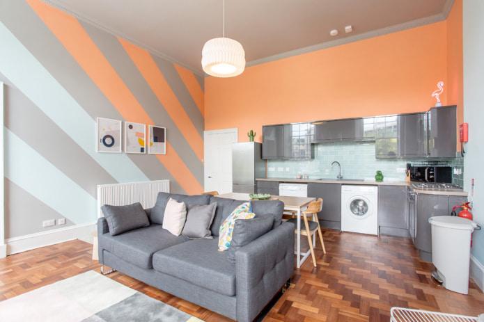 Fersken grå kjøkken-stue