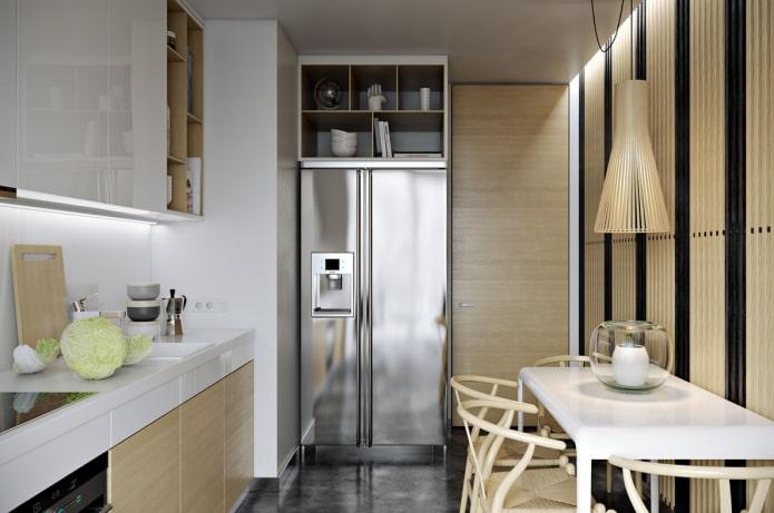 9 square kitchen design with fridge