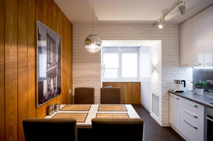 9 square kitchen with balcony