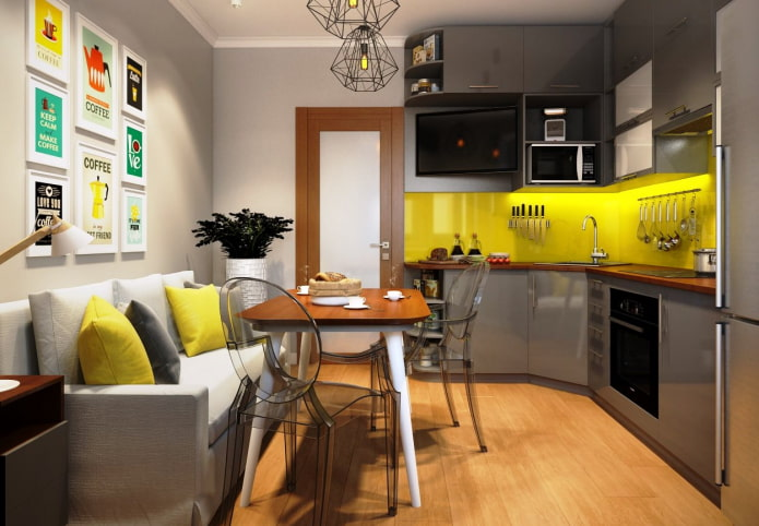 9 square kitchen with sofa