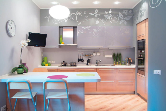 9 square kitchen with TV