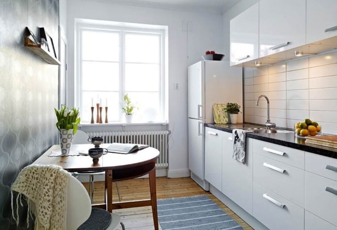 9 square kitchen with dining area