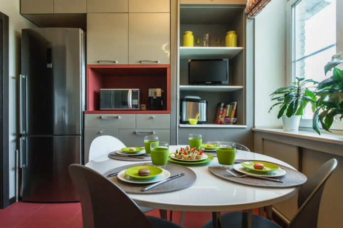 9 square kitchen with fridge