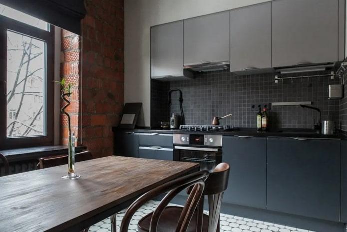 9-square loft-style kitchen
