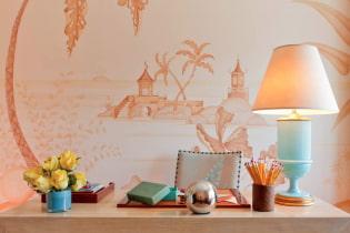 Fersken bakgrunnsbilder: utsikt, designideer, kombinasjon med gardiner og møbler