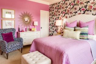 Rosa rominnredning: kombinasjon, valg av stil, dekor, møbler, gardiner og dekor
