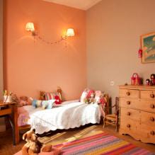 Interiør i ferskenfarger: mening, kombinasjon, valg av finish, møbler, gardiner og dekor-3